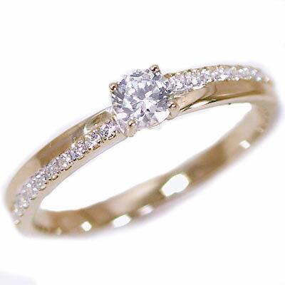 婚約指輪 エンゲージリング ダイヤモンド 0.2ct G SI2 Good 鑑定書付 ピンクゴールドk18 ダイヤリング K18pg 脇ダイヤ 0.1ct【送料無料】