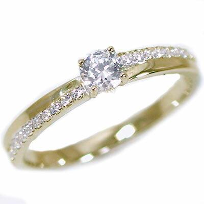 婚約指輪 エンゲージリング ダイヤモンド 0.2ct G SI2 Good 鑑定書付 イエローゴールドk18 ダイヤリング K18 脇ダイヤ 0.1ct【送料無料】