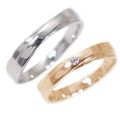 ペアリング 結婚指輪 マリッジリング ピンクゴールド ホワイトゴールドk10 ダイヤモンド ペア 2本セット K10 指輪 ダイヤ 0.02ct 2本のラインがクロスしたデザイン