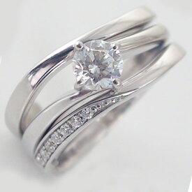 婚約指輪 プラチナ エンゲージリング ダイヤモンド 0.5ct D VVS1 3EX H&C 鑑定書付 3本セットリング Pt900【送料無料】