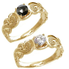 結婚指輪 マリッジリング ピンクゴールドk18 ペアリング SIクラス ダイヤモンド ブラックダイヤ ハワイアンジュエリー ペア2本セット K18pg ブライダル【送料無料】