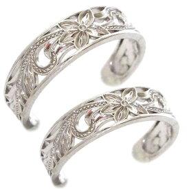 ハワイアンジュエリー ペアリング 2本セット ホワイトゴールドk10 結婚指輪 マリッジリング K10wg プルメリア スクロール フリーサイズ【送料無料】