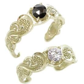 ハワイアンジュエリー ペアリング 2本セット イエローゴールドk10 結婚指輪 マリッジリング SIクラス ダイヤモンド ブラックダイヤ K10yg カレイキニ フリーサイズ【送料無料】