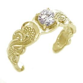 ハワイアンジュエリー 指輪 イエローゴールドk18 リング ダイヤモンド K18yg カレイキニ フリーサイズ【送料無料】