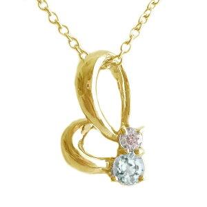 ハート ゴールド K18 ペンダント ネックレス 3月誕生石 アクアマリン K18yg ダイヤモンド【送料無料】