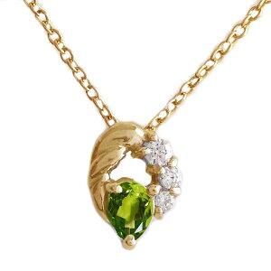ピンクゴールド K18 ペンダント ネックレス 8月誕生石 ペリドット ペアシェイプ K18pg ダイヤモンド【送料無料】