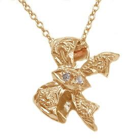 ハワイアンジュエリー ペンダント ネックレス ピンクゴールドk10 ダイヤモンド リボン K10pg【送料無料】