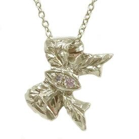 ハワイアンジュエリー ペンダント ネックレス ゴールドk10 ダイヤモンド リボン K10yg【送料無料】