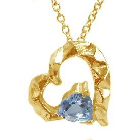 ハート ペンダント ネックレス ゴールドk18 選べる宝石 誕生石 K18yg 天然石 ブルートパーズ【送料無料】