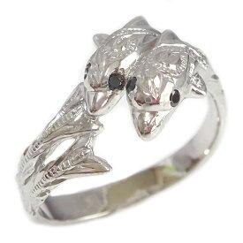 ハワイアンジュエリー シルバー ドルフィンリング SV925 イルカ 指輪 ブラックダイヤ