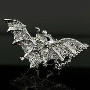 メンズ ジュエリー ラベルピン シルバー925 ブローチ 人口石 キュービックジルコニア 蝙蝠モチーフ コウモリ SV925【送料無料】
