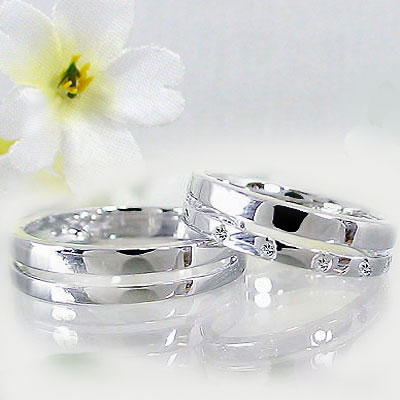 シルバー ペアリング マリッジリング 結婚指輪 ペア 2本セット 天然ダイヤモンド 指輪 ダイヤ 0.06ct【送料無料】