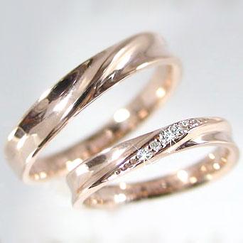 結婚指輪 ピンクゴールド ペアリング マリッジリング ダイヤモンド ペア2本セット レディース メンズ K10PG 指輪 ダイヤ 0.02ct【送料無料】