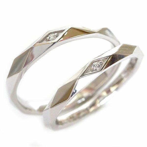 ホワイトゴールド K10 ペアリング ダイヤモンド ペア2本セット 結婚指輪 マリッジリング K10wg ダイヤ ストレート【送料無料】
