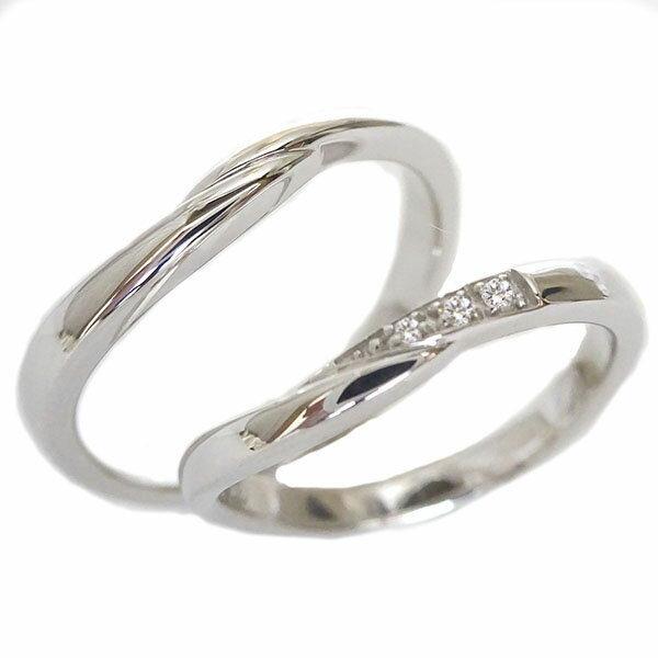 結婚指輪 マリッジリング シルバー ペアリング ダイヤモンド ペア2本セット SV925 ダイヤ【送料無料】