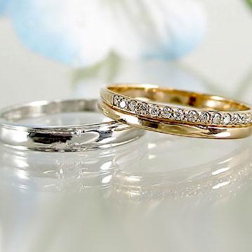 結婚指輪 ペアリング ピンクゴールド ホワイトゴールド K18 マリッジリング エタニティー ダイヤモンド ペア2本セット K18 指輪 ダイヤ 0.10ct【送料無料】
