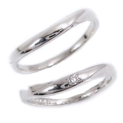 結婚指輪 ペアリング マリッジリング ダイヤモンド ホワイトゴールド ペア2本セット K10WG 指輪 ダイヤ 0.02ct【送料無料】
