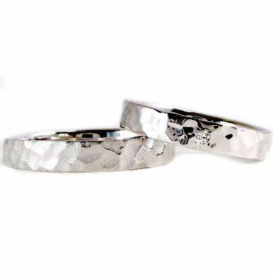 ペアリング 結婚指輪 マリッジリング ホワイトゴールドk10 ダイヤモンド ペア 2本セット K10wg 指輪 ダイヤ 0.01ct【送料無料】