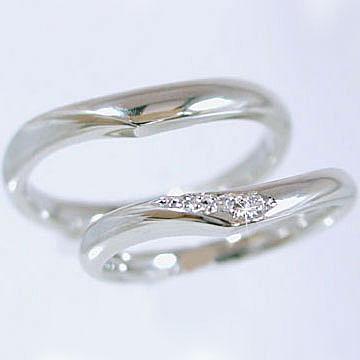 結婚指輪 プラチナ マリッジリング ペアリング ダイヤモンド ペア2本セット レディース メンズ Pt900 ダイヤ 0.03ct【送料無料】