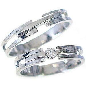 マリッジリング 結婚指輪 ペアリング ホワイトゴールドk10 ダイヤモンド ペア2本セット K10wg 指輪 ダイヤ 0.10ct【送料無料】