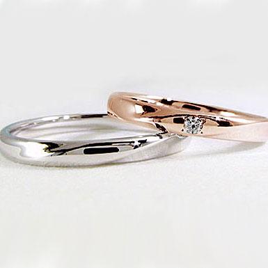 結婚指輪 ペアリング ピンクゴールド ホワイトゴールドk10 マリッジリング ダイヤモンド ペア2本セット K10 指輪 ダイヤ 0.02ct【送料無料】