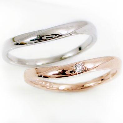 結婚指輪 マリッジリング ペアリング ピンクゴールド ホワイトゴールドk10 ダイヤモンド ペア2本セット K10 指輪 ダイヤ 0.02ct【送料無料】