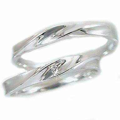 結婚指輪 ペアリング マリッジリング ダイヤモンド ホワイトゴールド ペア2本セット K10wg 指輪 ダイヤ 0.01ct【送料無料】