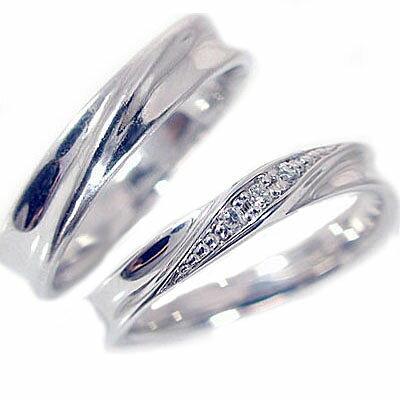 結婚指輪 マリッジリング シルバー ペアリング ダイヤモンド ペア2本セット レディース メンズ SV925 指輪 ダイヤ 0.04ct
