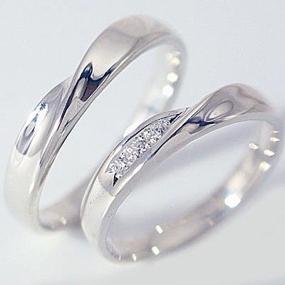 結婚指輪 ペアリング マリッジリング ホワイトゴールドk10 ダイヤモンド ペア2本セット K10wg 指輪 ダイヤ 0.03ct【送料無料】