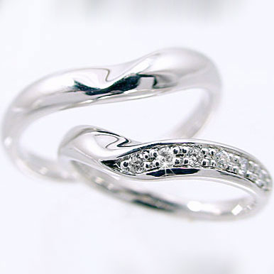 結婚指輪 ペアリング ホワイトゴールドk10 マリッジリング V字ライン ペア2本セット ダイヤモンドリング K10wg 指輪 ダイヤ 0.08ct【送料無料】