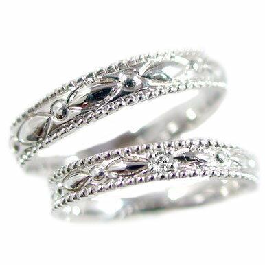 結婚指輪 ペアリング ホワイトゴールドk10 マリッジリング ペア2本セット ダイヤモンド K10wg 指輪 ダイヤ 0.01ct【送料無料】