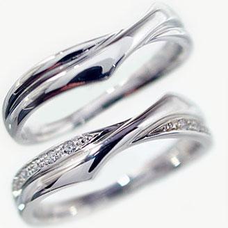 結婚指輪 ペアリング ホワイトゴールドk10 マリッジリング ダイヤモンド ペア2本セット K10wg 指輪 ダイヤ 0.08ct【送料無料】