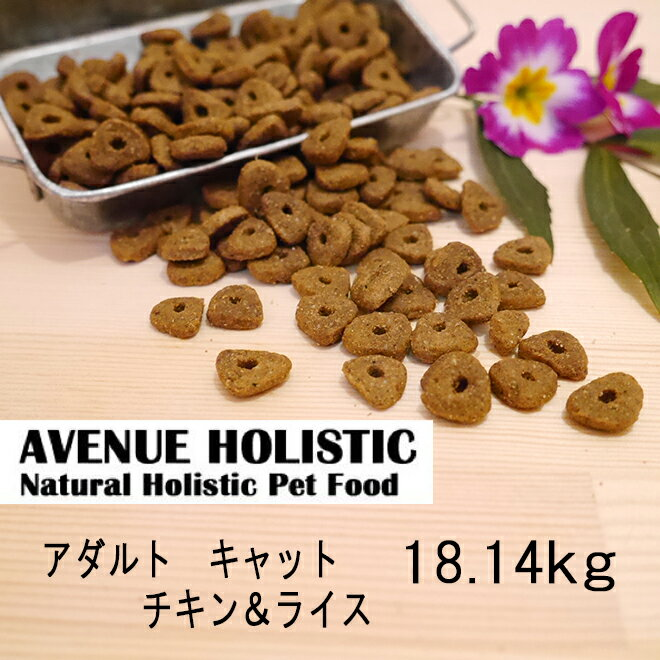 【訳あり】 アベニュー ホリスティック アダルト チキン&ライス キャット 成猫用 18.14kg