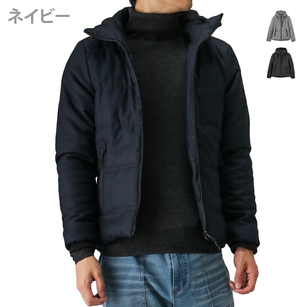 [0のつく日は5%OFFクーポン]ダウンジャケット 中綿 はっ水 スタンドカラー メンズファッション コート あったか 防寒 保温 フード付き カジュアル 通勤 通学 Navy ネイビー MAC HEAT(マックヒート)WLフードジャケット 384108MH 秋服 冬服