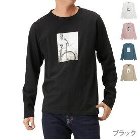 あす楽 モッシモ mossimo 長袖Tシャツ ロンT 長袖 クルーネック Tシャツ フォトプリント メンズ メンズファッション カットソー トップス シンプル おしゃれ カジュアル アメカジ ストリート フォトプリント長袖Tシャツ 0174-3706
