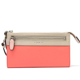 Coach /COACH legacy colorblock leather zippy wallet 48176 SVBC1 (Coral x rights and)
