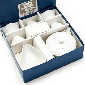 玉露用宝瓶・湯冷まし・茶碗セット 白磁 茶器 美濃焼