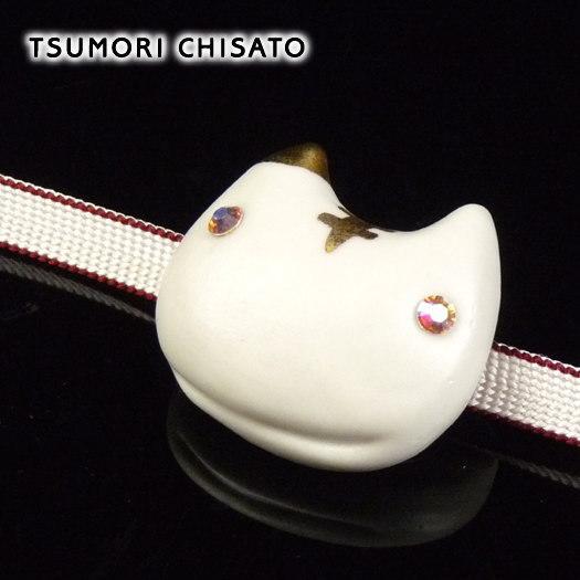 tsumori chisato WA - ツモリチサト - 陶器帯留め すまいるネコ(オフしろ)白 猫 ねこ 白猫 動物 帯飾り ケース付き ホワイトデー【母の日ラッピング無料!】