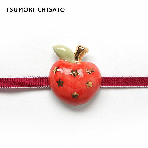 tsumori chisato WA - ツモリチサト - 陶器帯留め スターりんご(朱赤) 星 林檎 赤 金 朱赤 果物 帯飾り ケース付き ホワイトデー【母の日ラッピング無料!】