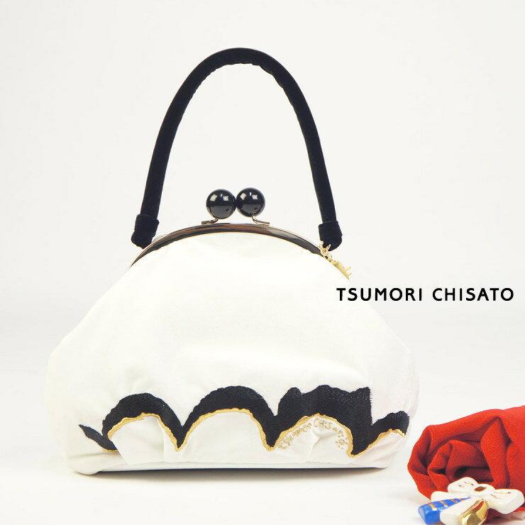 【特別価格】tsumori chisato ツモリチサト がまぐちバッグ ねこ波刺繍バッグ ブラック 黒 猫 動物 ネコ 白 バック ベルベット ベロア【超特価】【SALE】【あす楽】