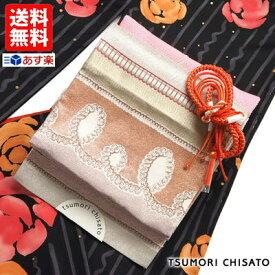 入学式・卒業式 応援SALE!「tsumori chisato -ツモリチサト- 」お仕立て上がり袋帯(ふくろおび) - ドットリボン縞(ピンク) - 二重太鼓に結んでフォーマルに♪変わり結びで華やかに♪【送料無料】【あす楽】【新品】