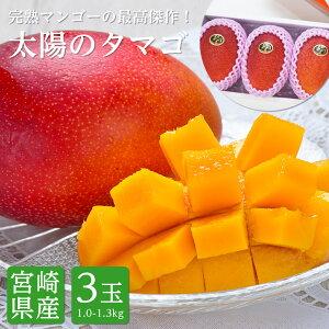 送料無料 宮崎県産 太陽のタマゴ 完熟マンゴー 2Lサイズ 3玉 約1.0kg〜1.3kg太陽のたまご 送料無料 マンゴー 宮崎 ギフト 贈答 プレゼント 内祝い お中元