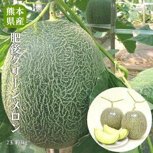 【送料無料】熊本県産 肥後グリーンメロン2玉 約3kg【肥後グリーン 送料無料 ギフト 贈答 プレゼント 内祝い 出産祝い】