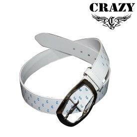 クレイジー レザーベルト 2019年モデル サイズ フリー 白 ホワイト ブルー 男女兼用 ユニセックス CRAZY Leather belt 19sm