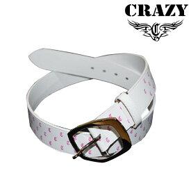 クレイジー レザーベルト 2019年モデル サイズ フリー 白 ホワイト ピンク 男女兼用 ユニセックス CRAZY Leather belt 19sm