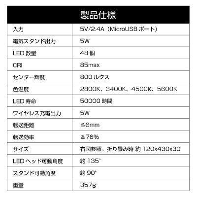 デスクライトLEDqiワイヤレス充電スタンドライト