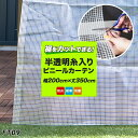 ビニールカーテン 既製 防炎 裾をカットできる 難燃 半透明【FT09】 既製サイズ 幅200cm 丈350cm 間仕切り カーテン …