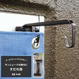 日よけ サンシェード すだれ ビニールシート ビニールカーテン 防犯 防鳥ネットなどの取付に すだれ掛け 1セット2個入 ステンレス製 日本製 サッシ窓用 外掛け用 即納可