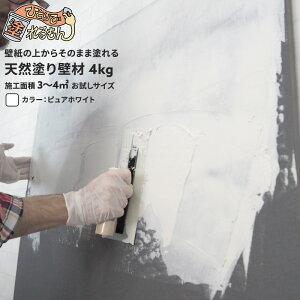 [ポイント5倍×11日限定]漆喰 簡単 ぬり壁 ひとりで塗れるもん/お試し 4kg/石灰製壁材/自然/天然塗り壁材/DIY/内装仕上げ材/左官/湿度調整/消臭/断熱/保湿/防カビ/塗りやすい/リフォーム/リノベ