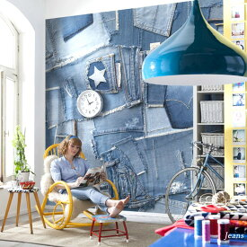 壁紙 のり付き おしゃれ クロス 輸入壁紙 紙 店舗 内装 撮影 ドイツ製 北欧 デニム 生地 ブルー [Jeans/ジーンズ]8-909